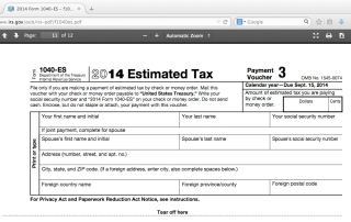 Estimated Tax Voucher Screenshot